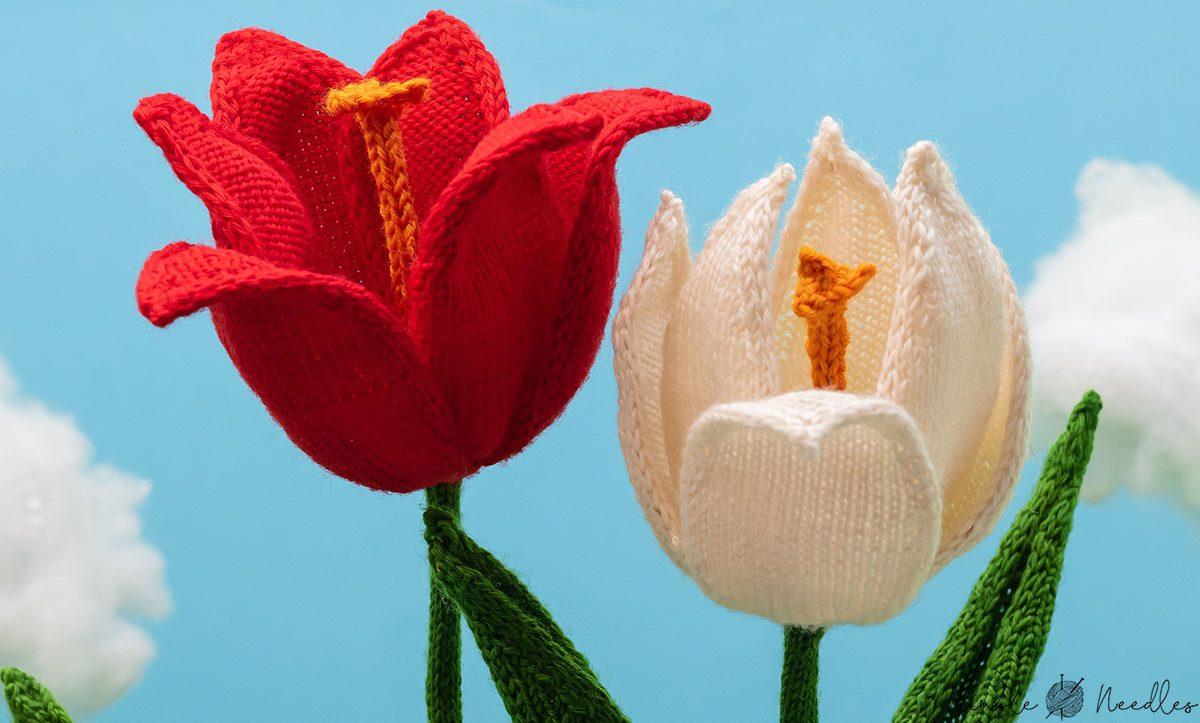 close-up shot of the blossoms of these knitted tulips