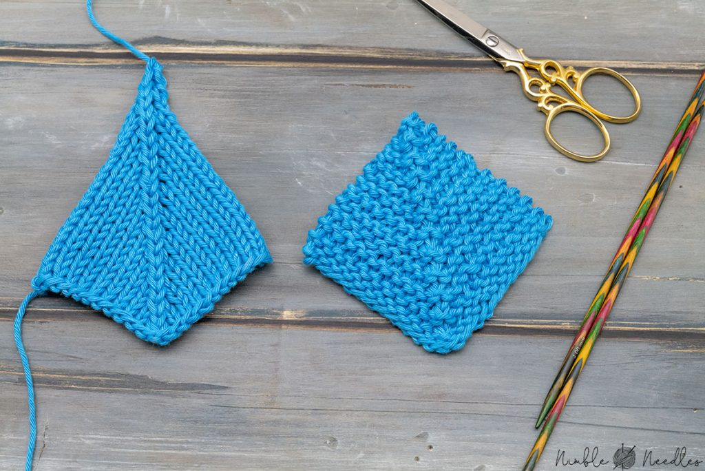 a mitered square knitted in stockinette stitch and garter stitch