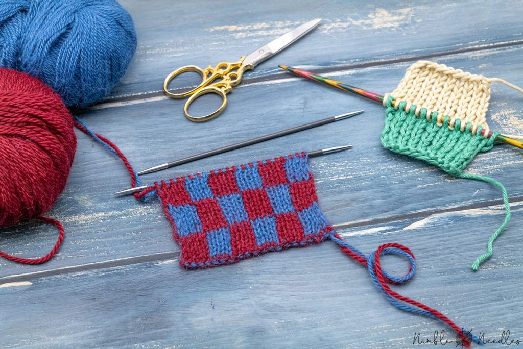 different types of double knitting side by side