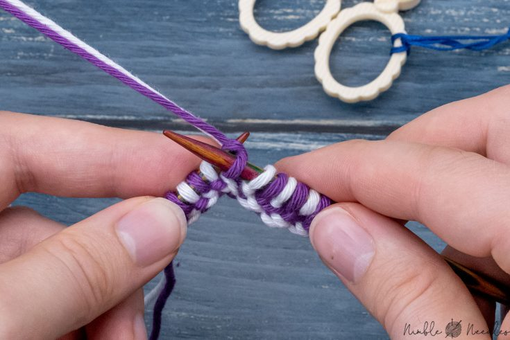how to double knit with two colors