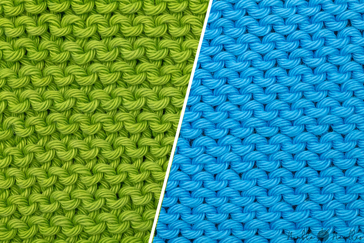 reverse stockinette vs garter stitch - the two knitting stitch patterns close-up side by side