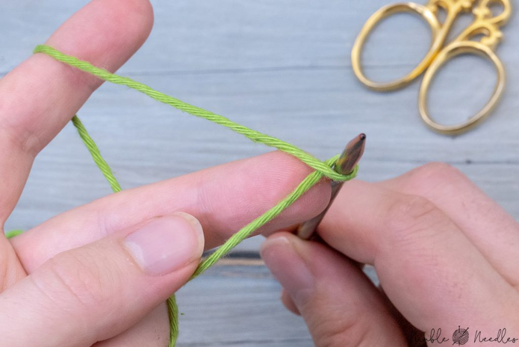 a simple twisted loop around the knitting needle to start the cast on instead of a slip knot