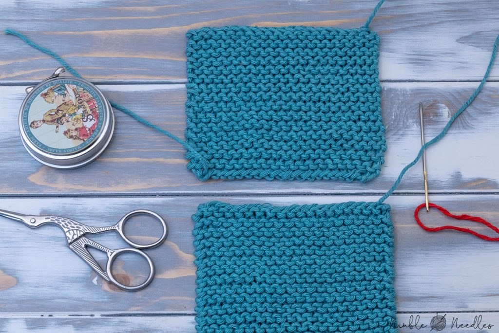 aligning the two pieces of garter stitch you want to join - cast on edge to bind off edge
