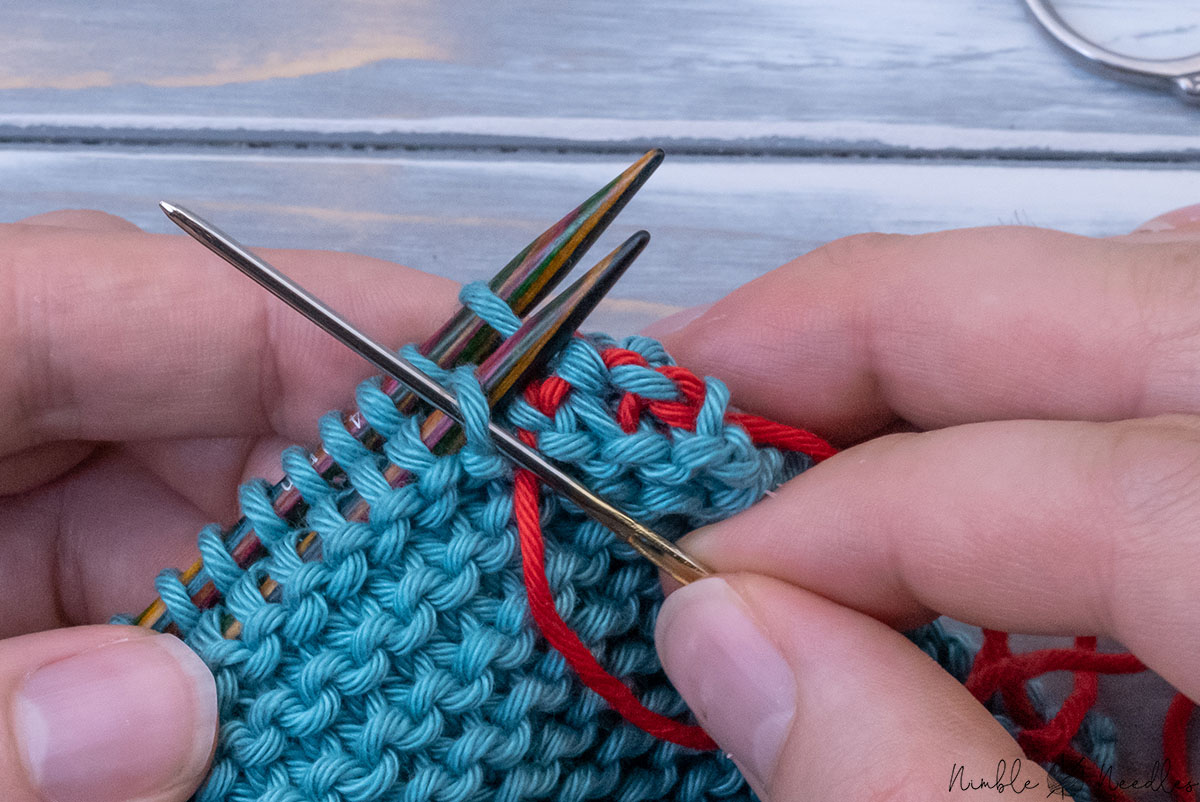 continuing the garter stitch graft to join two pieces together horizontally