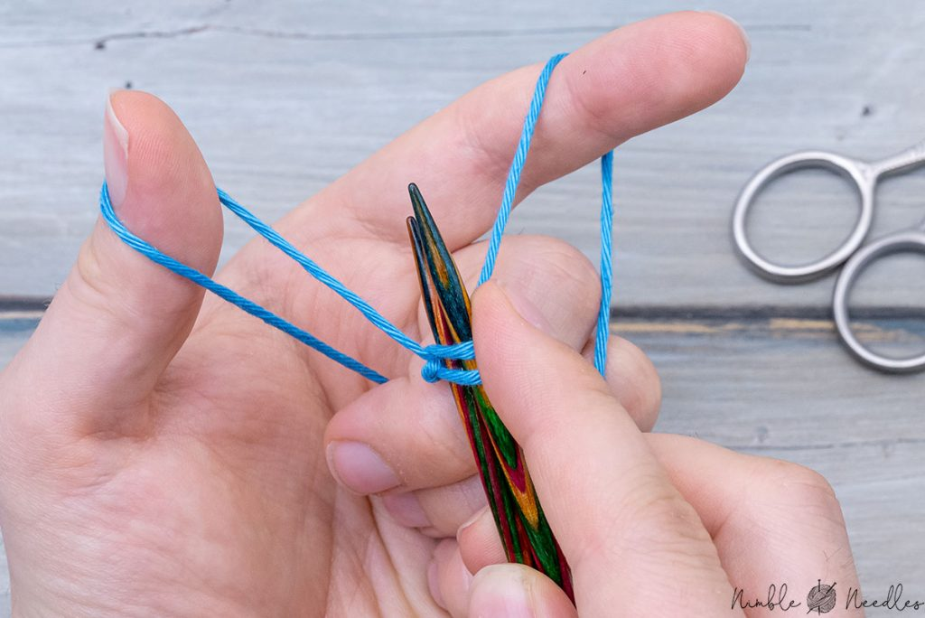 creating another sling shot to continue casting on around two needles