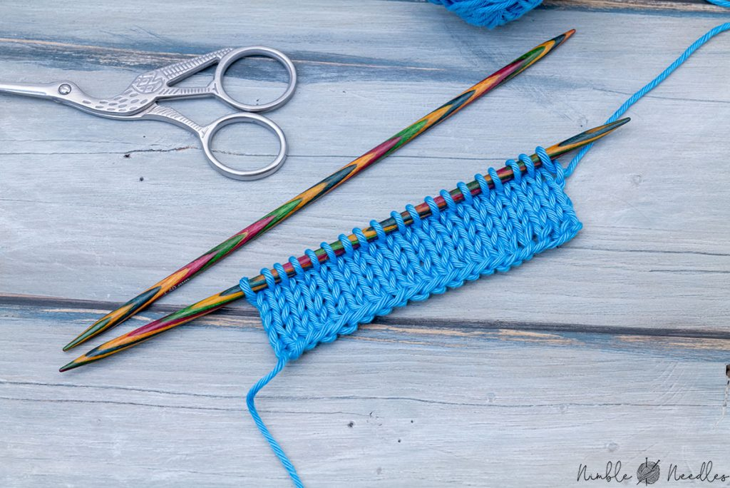 the edge you create by casting on with two needles as shown on a swatch in stockinette stitch
