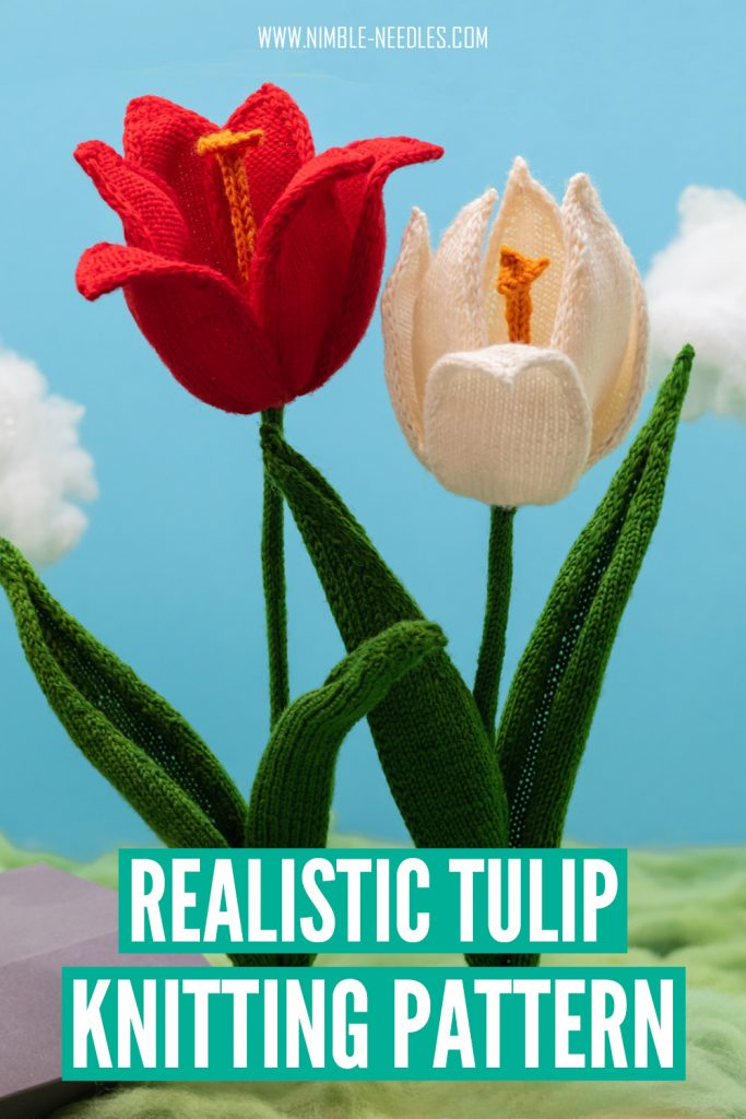 a realistic tulip knitting pattern for intermediate knitters