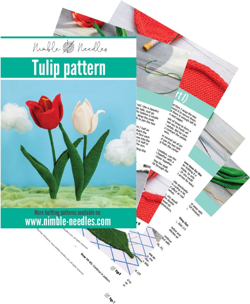 preview of the tulip knitting pattern