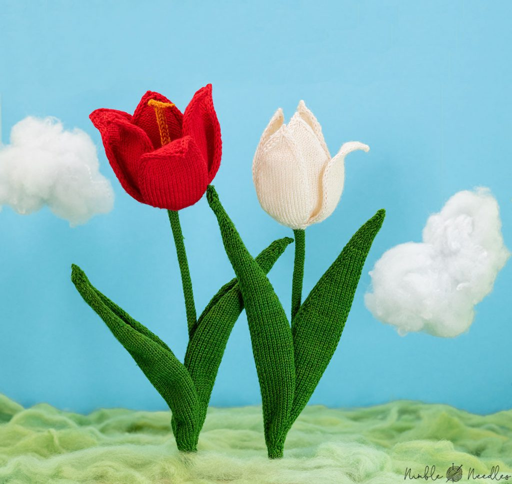 two knitted tulips one with open petals and one with a closed blossom