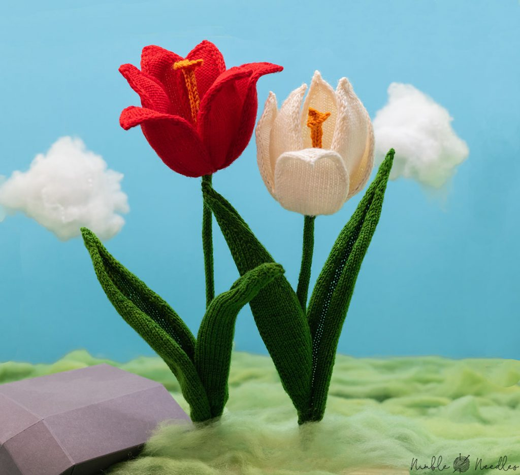 two knitted tulips in white and red on a meadow of wool rovings and cotton candy clouds in the background