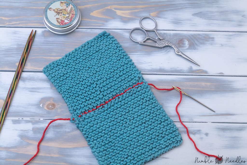 two pieces joined together by grafting garter stitch horizontally to create an invisible seam