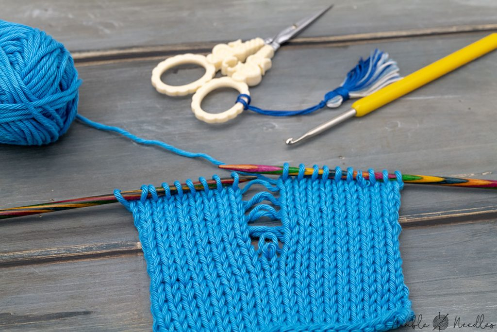 a dropped stitch that unraveled to several rows below