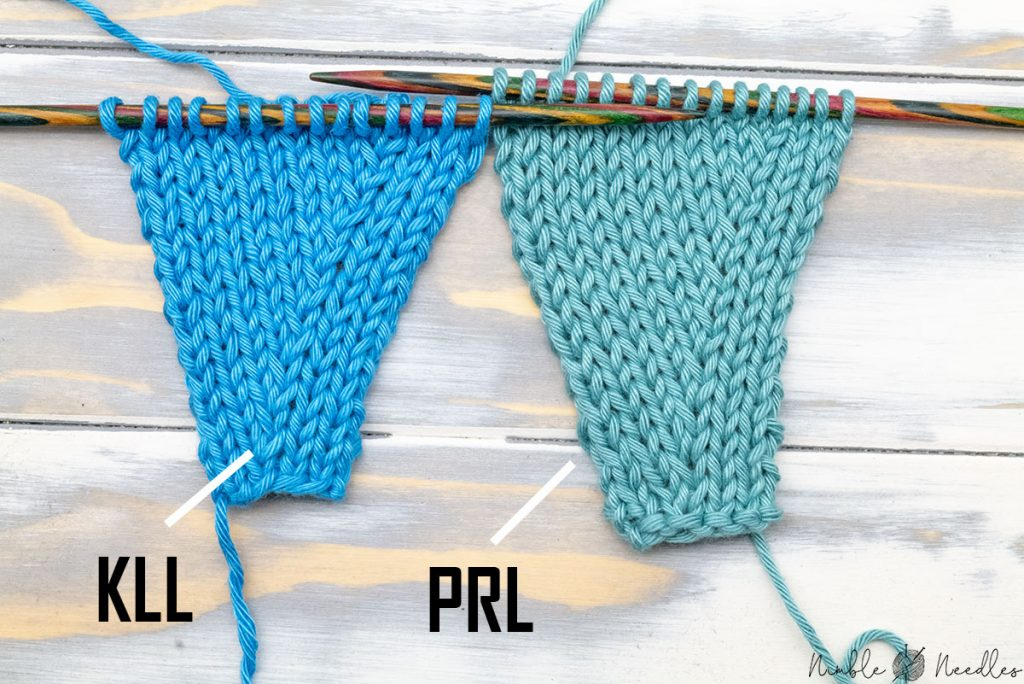 comparing two knitted swatches increased with KLL and the right lifted purl increase on the right side