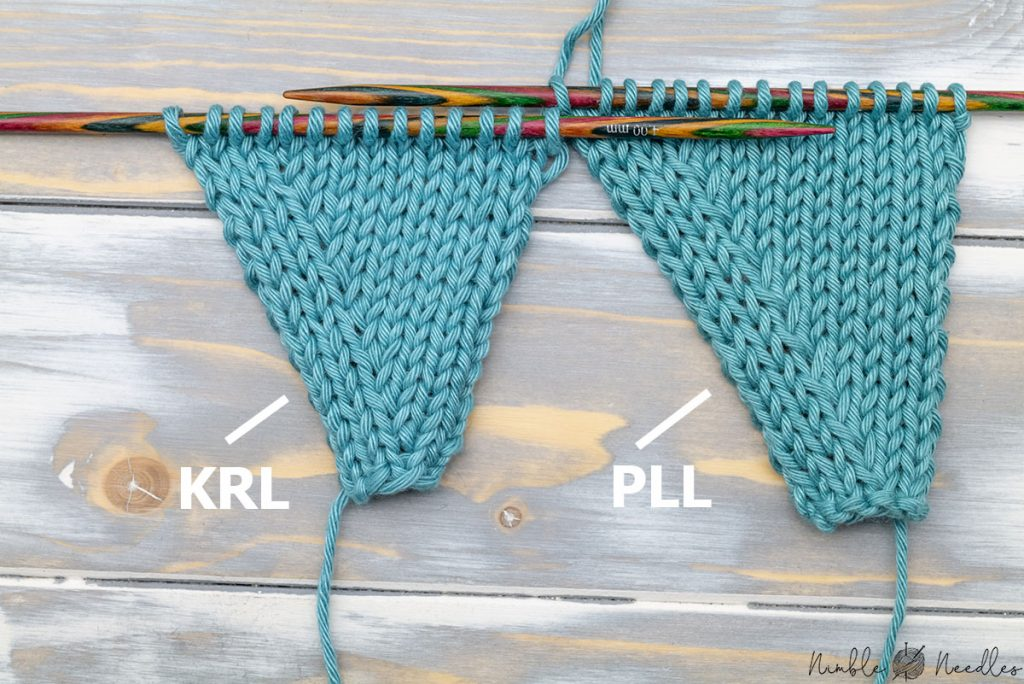 comparing the lifted purl increase and krl on the right side