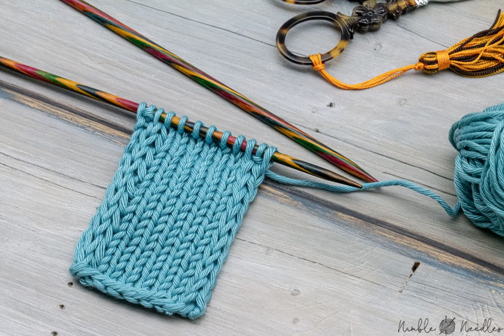 a swatch with a double stockinette stitch selvage