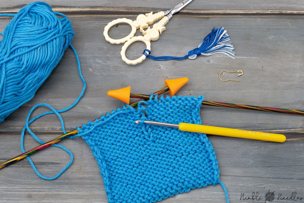 fixing a purl stitch on the wrong side of a swatch in stockinette stitch