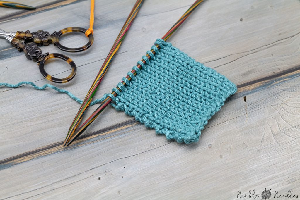 a swatch with a simple garter stitch selvage
