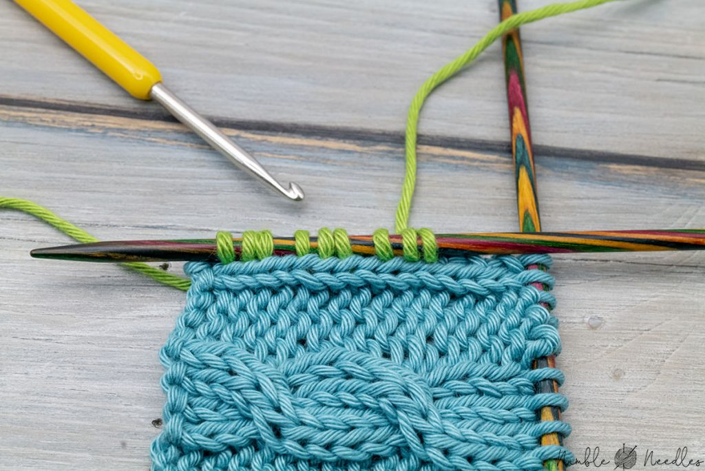picking up stitches from a seam edge stitch