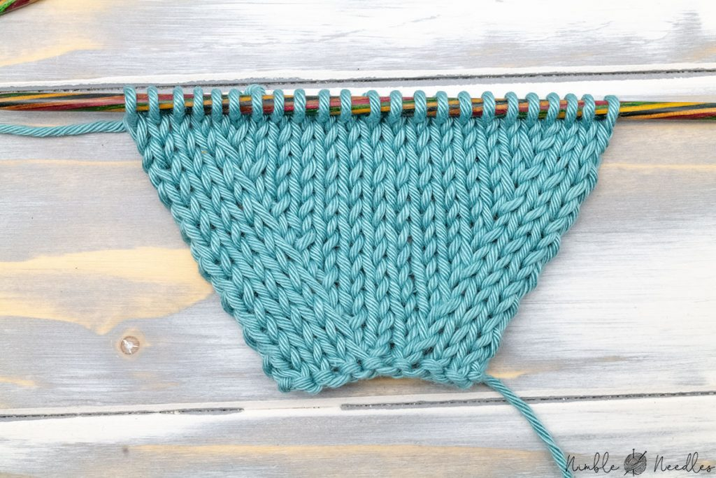 right side of a swatch increased with right lifted purl increase both sides