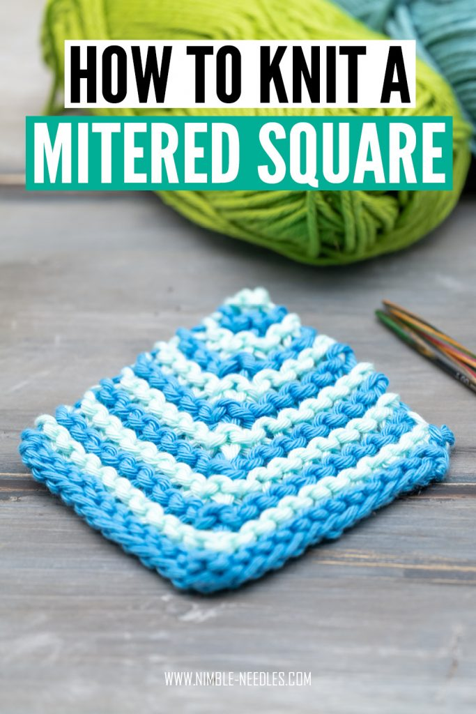 how to knit a mitered square - simple knitting pattern for beginners