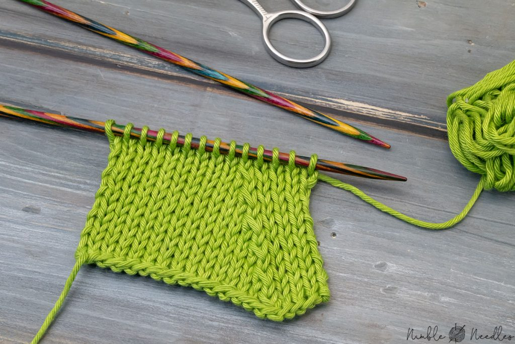 a knitted swatch decreased with sspk