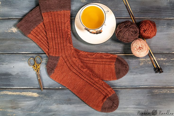 cable knit sock pattern for men seen from above