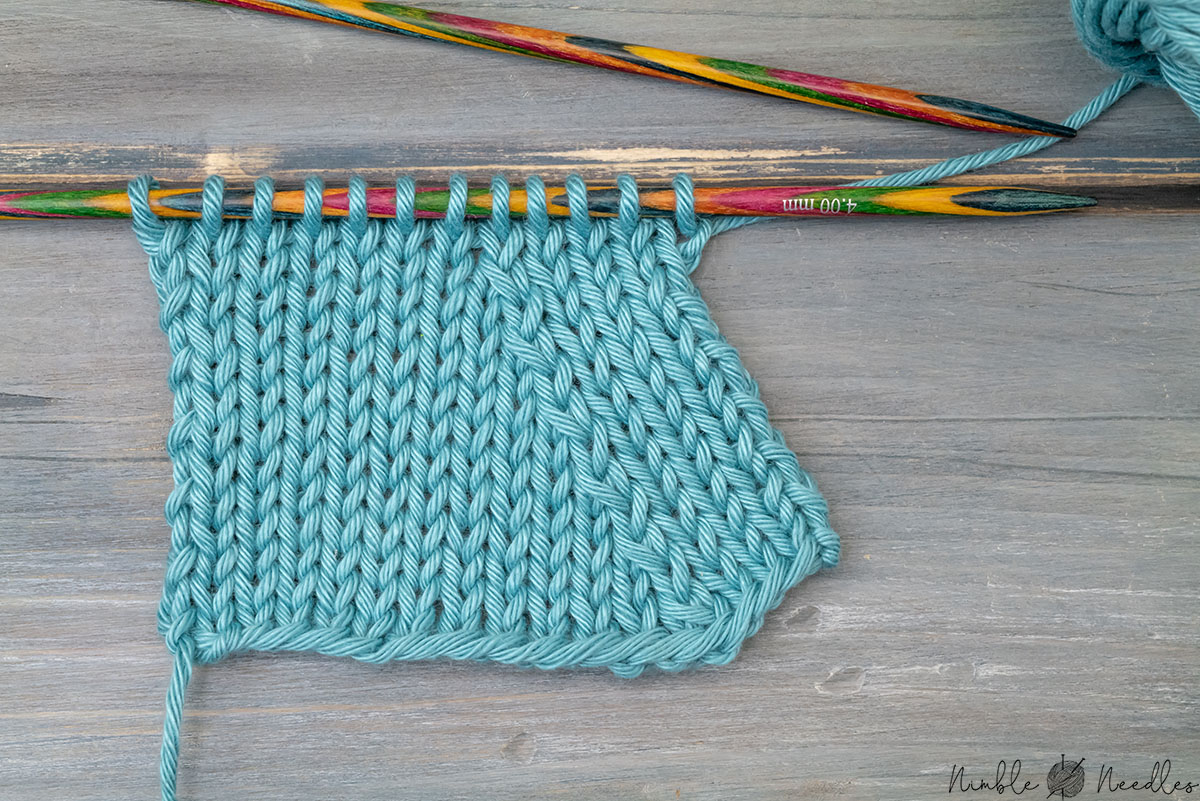 close-up of a swatch with the skp knitting decrease
