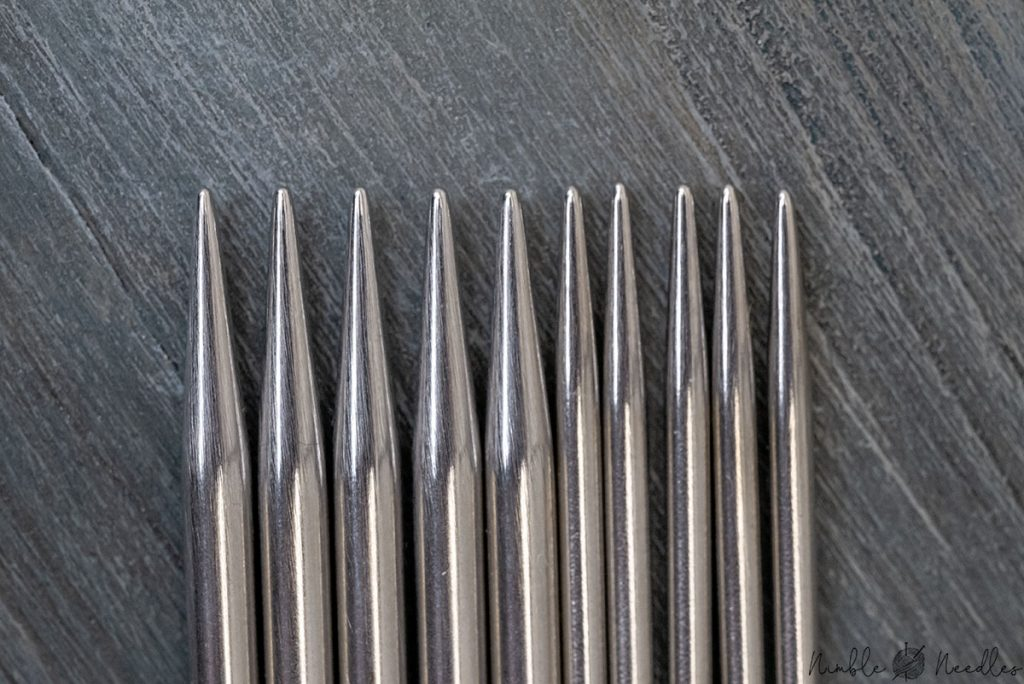 close-up of the hiyahiya dpns - the tips are super stilletto sharp