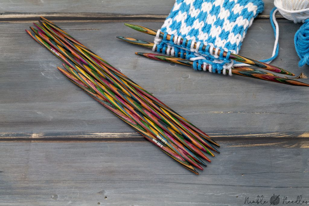comparing 15 cm dpns with 10 cm double-pointed knitting needles