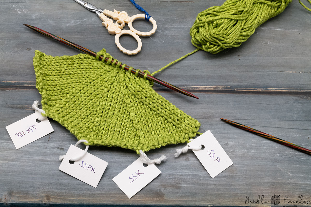 comparing different left leaning decreases in knitting in a swatch in stockinette stitch