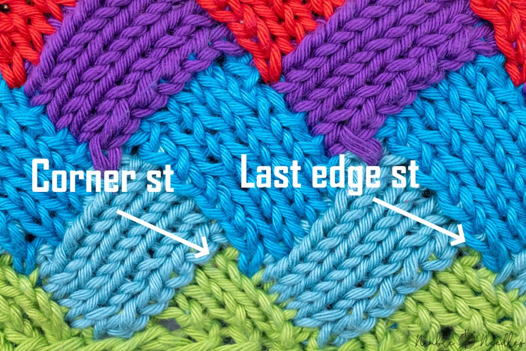 comparing different ways to pick up the corner stitch in entrelac for the best results