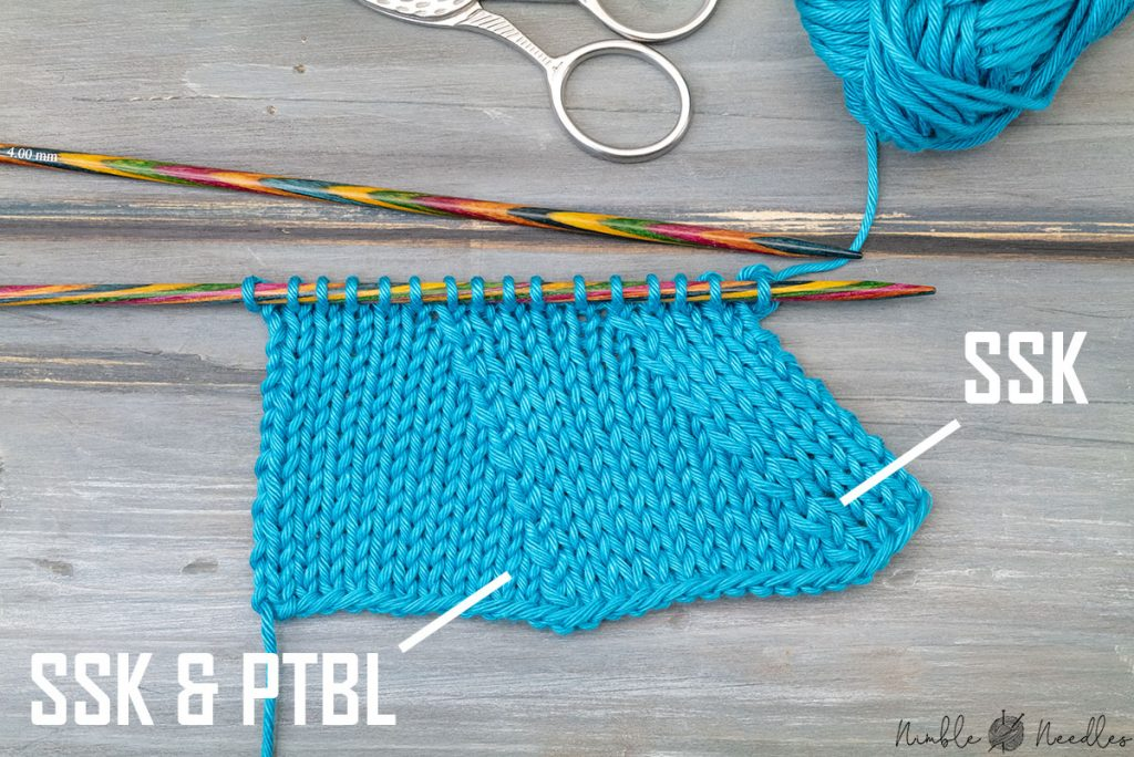 comparing ssk and ssk with ptbl in return round on a swatch in stockinette stitch