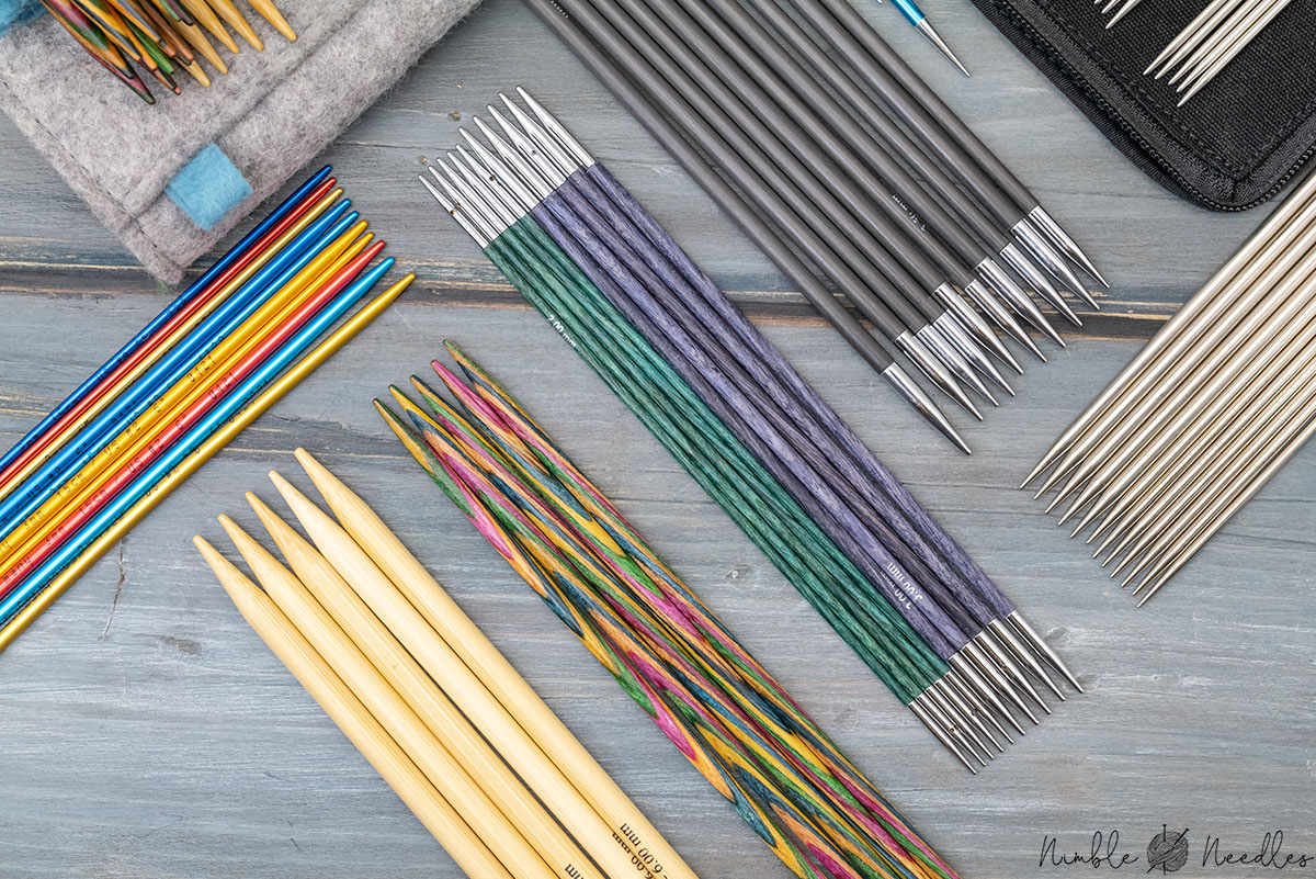 different double-pointed knitting needles up for review from different brands