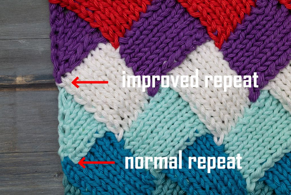 different left triangles for entrelac so you can see the difference