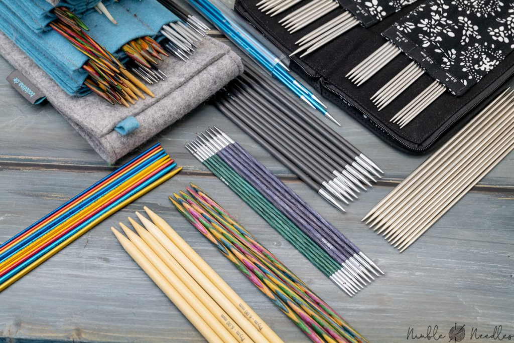double-pointed knitting needles made from various materials and different brands