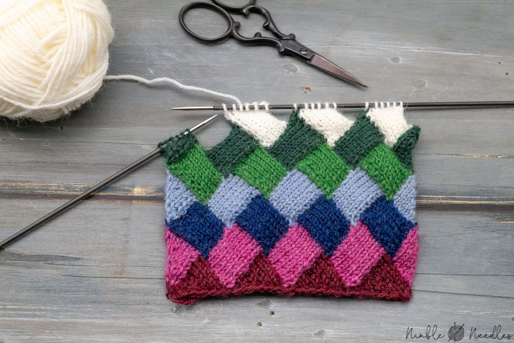 entrelac knitting tips employed on a swatch for super neat results without holes
