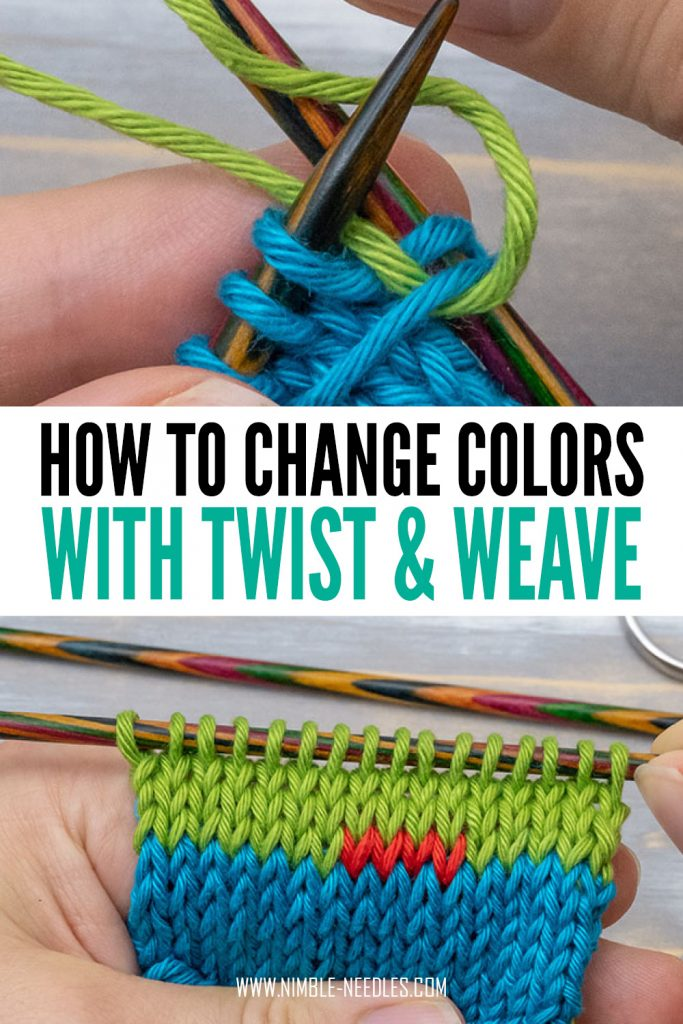 how to change colors in knitting using twist and weave method - step by step