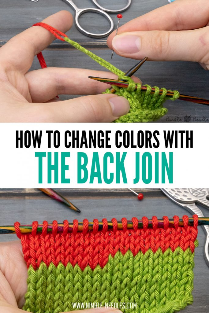 how to change colors with the back join in knitting - a super smart way to add a new ball