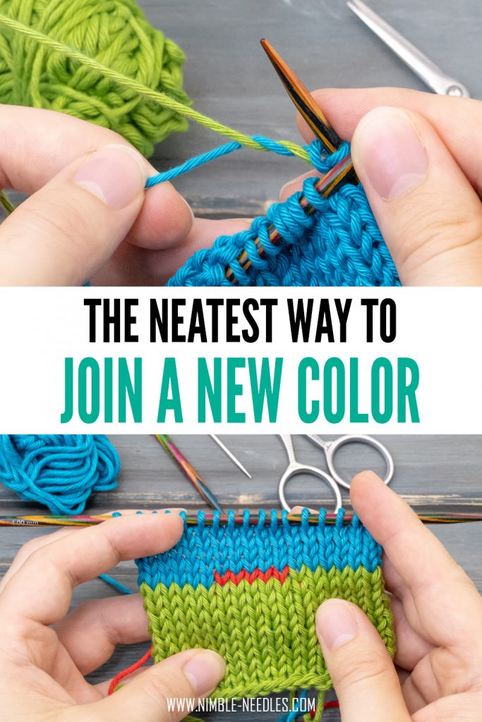 how to join a new color in knitting with weave in and twist - a super neat and effective way for colorworks like intarsia