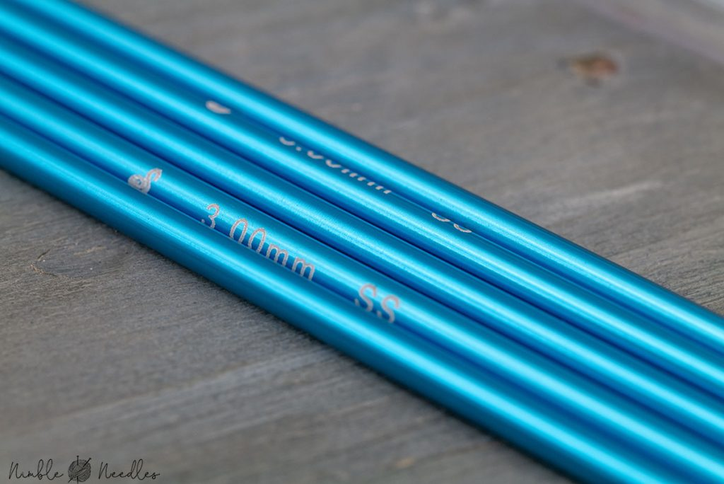 macro shot of the signature needle arts double-pointed knitting needles