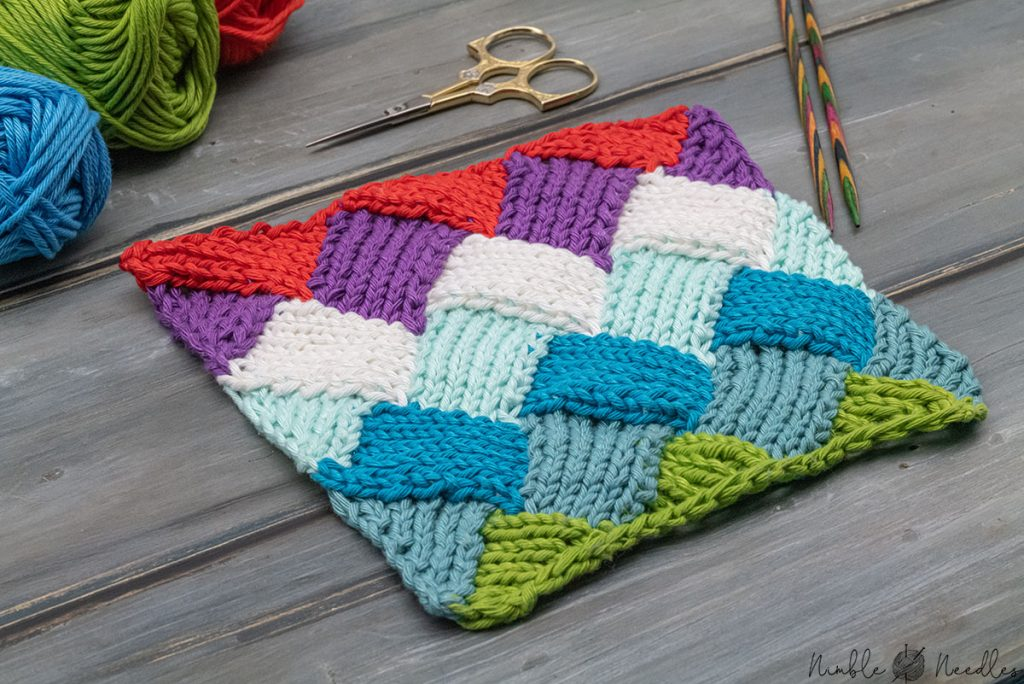 multicolored entrelac knitting pattern seen from an angle