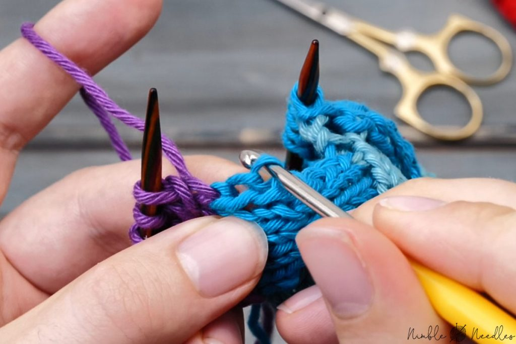 the way you need to picking up stitches through the edge of the entrelac pattern
