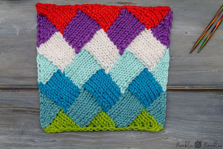 the entrelac knitting pattern in multiple colors