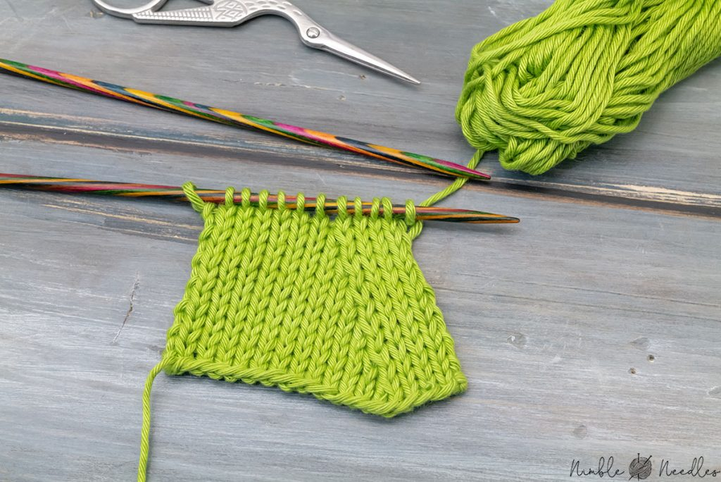 A swatch with the neat left-slanting knitting decrease called k2tog left