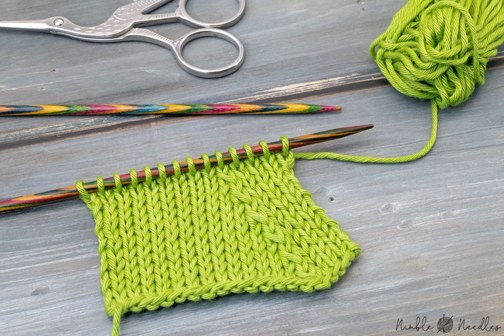 a swatch with the sspk left-leaning knitting decrease