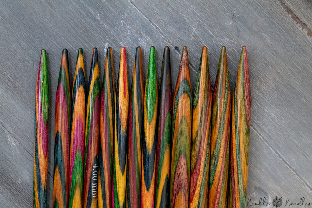 the tips of the knitter's pride dreamz double-pointed needles closeup