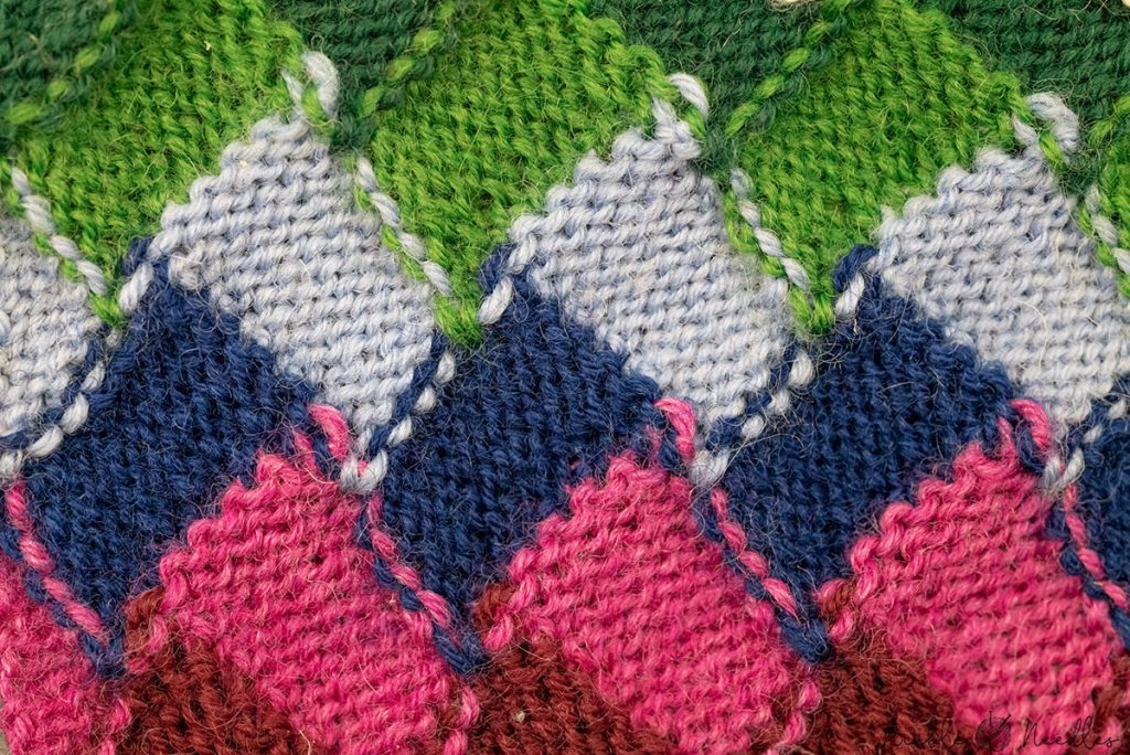 wrong side of an entrelac pattern showing super neat transitions