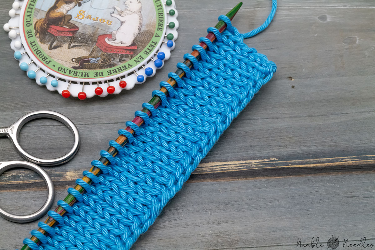 a knitted swatch with the german twisted cast on and various knitting tools