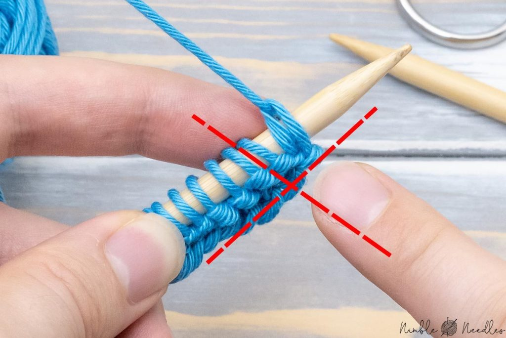 showing how the yarn should not look after you turned around. Many beginners learning how to knit accidently pull the yarn around the wrong way.