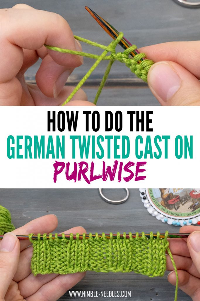 how to do the german twisted cast on purlwise